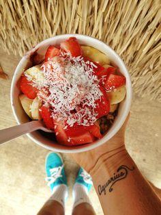 Haleiwa acai bowl, yum! strawberry, papaya, coconut, lemon juice...OMG