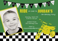 Dirt Bike Custom Birthday Invitation by nattysuedesigns1 on Etsy, $15.00