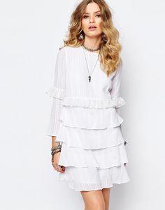 Stevie May | Stevie May Multi Layer Longsleeve Dress in White at ASOS