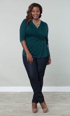 Our plus size Katniss Knit Top is now available in a gorgeous teal color.