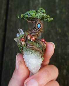 Little mushroom forest  With Quartz, spirit Quartz, & labradorite.