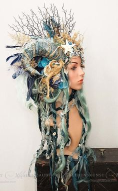 This article is not available Nymph Headdress // Mermaid // Larp -. - This article is not available Nymph headdress // mermaid // larp headpiece // fantasy - Larp, Cosplay Horns, Estilo Tribal, Mermaid Crown, Mermaid Headpiece, Mermaid Mermaid, Mermaid Parade, Fantasias Halloween, Fantasy Costumes