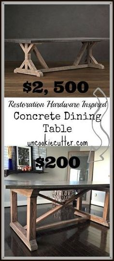 DIY Restoration Hardware Copy Concrete Farmhouse Table For Less than ONE TENTH of the Price !