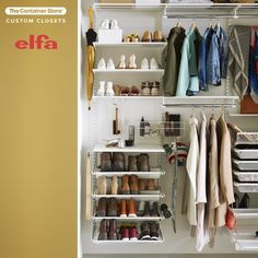 Create the chic hall closet space of your dreams with Elfa Classic! Contact us today for a free custom design. (Shown: Elfa Classic in White)