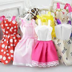 10 Pcs Fashion Handmade Dresses Clothes For Barbie Doll Style Random Utility