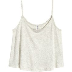 H&M Short jersey top (18 BRL) ❤ liked on Polyvore featuring tops, shirts, crop tops, tanks, grey, grey top, gray shirt, short crop tops, h&m shirts and grey crop top