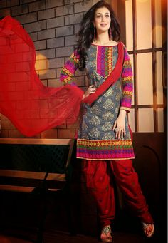 A stunning Grey & Red Color Cotton Designer Patiala Salwar Kameez with floral embroidered yoke, sleeves and border