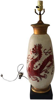 Mid-Century Red Chinoiserie Dragon Lamp on Chairish.com