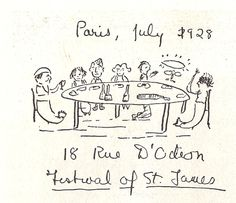 F. Scott Fitzgerald's drawing of his meeting with James Joyce, Paris, 1928.