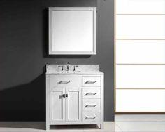 """Virtu USA 36"""" Single Square Bathroom Vanity White VU-MS-2136R-WMSQ-WH"""