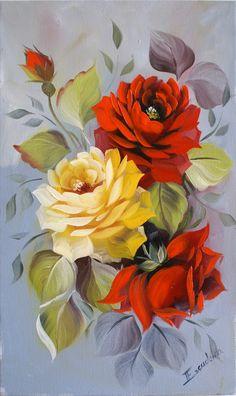 Maher Art Gallery: Rinaldo Escudeiro /Still Life Flower Arte Floral, 3 Piece Canvas Art, Protea Flower, China Painting, Rose Art, Flower Of Life, Flower Images, Flower Cards, Fabric Painting