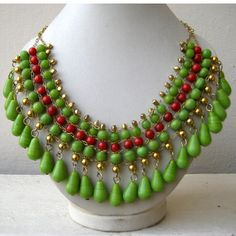 Green and Red Bohemian Necklace / Statement Necklace / Bib Necklace - Beaded Jewelry.