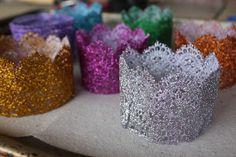 DIY mini lace glitter crowns    princess party  photo prop