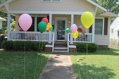 Balloon Walkway - Similar to this but with the same melon colors and anchored into our front walkway flower beds