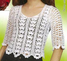 New Woman's Crochet Patterns Part 7 - Beautiful Crochet Patterns and Knitting Patterns T-shirt Au Crochet, Beau Crochet, Pull Crochet, Mode Crochet, Crochet Shirt, Crochet Woman, Crochet Stitches, Crochet Patterns, Crochet Tops