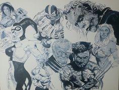 Painting of comic book heros, villains, and cosplayers. #art #sacramento #Marvel #DC #villains #superheroes #comicart #cosplay