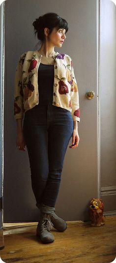 cardigan/Brklyn thrift 5yo sweatshop retail shirt sweatshop retail jeans OTBD org cotton boots w/recycled tired soles odette rabbit necklace