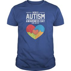 World Autism Day    100% Cotton Adult 30/1s Tee Shirt  4.3 oz 100% Ringspun Cotton, Preshrunk Jersey  Tubular  3/4 inch Seamless Rib Knit Collar  Taped neck and shoulders  Double-Needle Sleeve and Bottom Hem