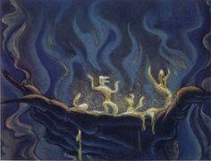 Concept art for Disney's Fantasia (Night on Bald Mountain)