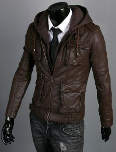 Handmade brown hooded Leather Jacket men leather by Besteshop, $169.99