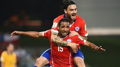 Jean Beausejour of Chile celebrates