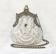 Art Deco Bridal Clutch, Old Hollywood Evening Bag, Handbag Purse Gatsby Wedding Accessory