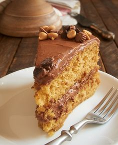 Peanut Butter Cake with Chocolate Frosting ~ http://www.bakeorbreak.com