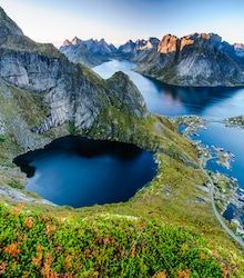 sunset aerial panoramic view on stunning mountains of lofoten islands norway Places To Travel, Places To See, Places Around The World, Around The Worlds, Norway Travel Guide, Lofoten Islands Norway, Beautiful Norway, Nature Pictures, Beautiful Landscapes