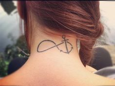 2 anchor infinity tattoo on neck