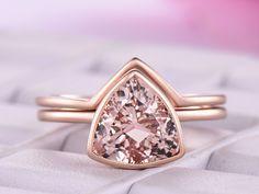 Trillion Morganite Engagement Ring Sets 14K Rose Gold 9mm - 6.25 / 14K White Gold