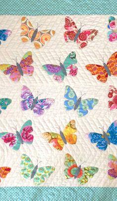 Baby quilt pattern BUTTERFLIES by http://www.blackmountainneedleworks.com.