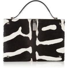 Valentino Zebra-print calf hair clutch ($850) ❤ liked on Polyvore