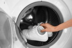 They might look sturdy but white trainers are far too delicate to go in the washing machine (stock image) Smelly Shoes, Plastic Shoes, Baskets, Take Off Your Shoes, Fabric Shoes, Domestic Goddess, Simple Life Hacks, What To Use, Who What Wear