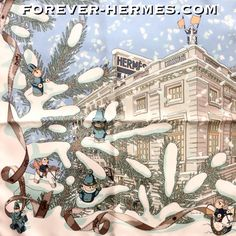 #Christmas in #Paris ? Are you gentlemen ready for the trip? Otherwise you can experience it from home while wearing this Rybaltchenko iconic Noel Au 24 Faubourg Hermes Scarf #Gavroche #pochette #pocketscarf #necktie in store http://forever-hermes.com #foreverhermes featuring the Couture Maison on the Faubourg street surrounded by snow & #snowflakes #ChristmasTree #toys #horse #horserider #Noel in elegant pastel colors! #HermesCarre #horseaddict #horselover #mensfashion #MensSuit…