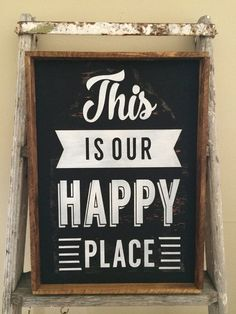 This is our happy place framed wood sign