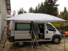 Pretty Picture of Amazing Camper Van With Awning Ideas. The Van is an amazingly versatile mode of transportation that could be converted'' to suit the requirements of a number of individuals and purposes. Campervan Awnings, Campervan Interior, Transit Camper, Ford Transit, Sprinter Van, Van Conversion Awning, Rv Insurance Cost, Glamping, A Frame Camper