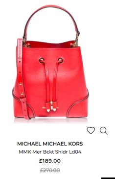 Bag Sale, Michael Kors Bag, Bucket Bag, Shoulder Bag, Red, Bags, Shopping, Fashion, Handbags