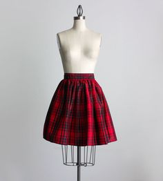 RED PLAID SKIRT 1990s Vintage Red Plaid Print Full by decades, $38.00