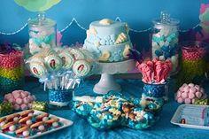 Mermaid under the sea sweet table idea.  #mermaidparty