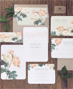 Lovely floral and dot stationery set designed by the super talented Rachel Marvin Creative! #wchappyhour #weddingchicks