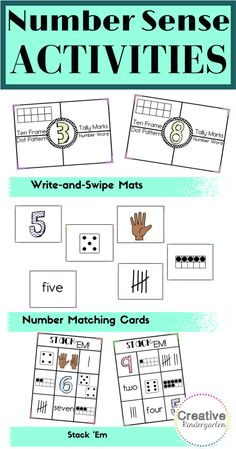 These 3 activities are perfect to practice representing numbers in different ways, number recognition, subitizing, one-to-one correspondence. A perfect addition to your kindergarten math centers! Can be used for independent work or small group work.