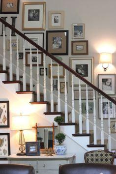 Stairway Gallery Wall, Stair Gallery, Gallery Walls, Frame Gallery, Stairway Art, Interior Decorating, Interior Design, Stairwell Decorating, Inspiration Wall