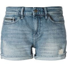 Calvin Klein Jeans Distressed Denim Shorts (84 CAD) ❤ liked on Polyvore featuring shorts, short, blue, distressed denim shorts, blue shorts, blue short shorts, calvin klein jeans and short shorts