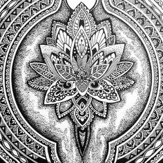 """from @tekslus -  Lotus close up. #creative #art #drawing #ink #pen #flower #mandala #doodleart #lineart #black #dotwork #stippling #artdiscover…"""
