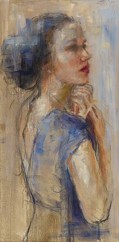 Mieke Robben, Blue dress www. Abstract Portrait Painting, Portrait Art, Painting & Drawing, Abstract Art, Painting People, Figure Painting, Chalk Pastel Art, Expressive Art, Life Drawing