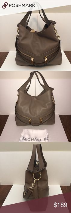 "MICHAEL KORS Jamesport Lg Leather Shoulder Tote Guaranteed Authentic! Absolutely gorgeous bag!!! Michael Kors Jamesport large shoulder tote. Color: Dark dune and gold tone hardware. Pebble leather. Dust bag included. Removable shoulder strap in gold chain and leather with 15"" dropFlap shoulder handle with 8"" drop. Two exterior zip pockets. Interior in MK signature logo fabric, 4 open pockets, and 1 zip pocket. Approx. measurements: 13""L x 12""H x 4.5""W. Item will be videotaped prior to…"