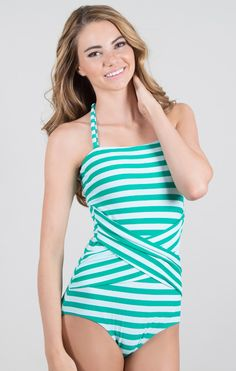 Cabana Stripe One-Piece -- Peacock - modest swimsuit