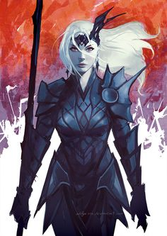 Female Lancer by aditya777 female elf drow fighter paladin armor clothes clothing fashion player character npc | Create your own roleplaying game material w/ RPG Bard: www.rpgbard.com | Writing inspiration for Dungeons and Dragons DND D&D Pathfinder PFRPG Warhammer 40k Star Wars Shadowrun Call of Cthulhu Lord of the Rings LoTR + d20 fantasy science fiction scifi horror design | Not Trusty Sword art: click artwork for source