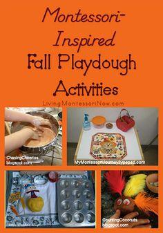 Montessori Monday – Montessori-Inspired Fall Playdough Activities - Roundup of Montessori-inspired playdough activities for a number of different fall themes