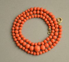 Beautiful antique natural undyed Mediterranean coral beads necklace, Germany, 1900s. Individually knotted on the coral colour silk, 333 (8 karat) yellow gold spring ring clasp. The beads ranges from 5 mm (0.2) to 9 mm (0.4). The necklace was restrung. Length: 52 cm (20.5) Weight 17.2 grams